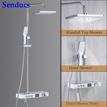 Senducs Interlligent Chrome Digital Shower Set High Quality Brass Bathroom Shower System Square Rainfalll Bath Shower Set