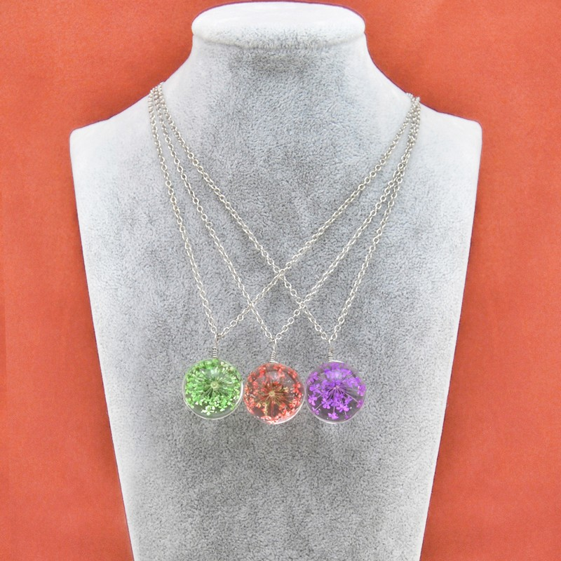 Fashion Natural Plant Real Dry Flower Glass Ball Necklace For Women Silver Chain Pendant Necklaces Female Collar Jewelry Gift in Chain Necklaces from Jewelry Accessories