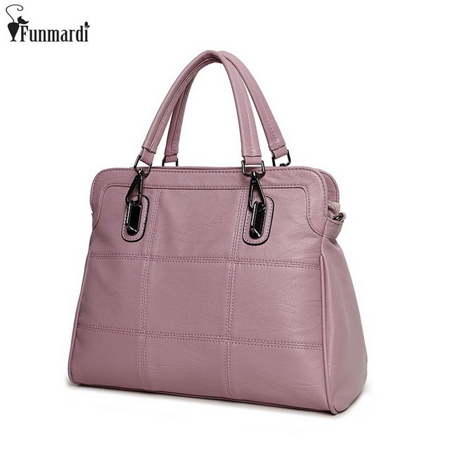 FUNMARDI Famous Brand Leather Shoulder Design Handbags Fashion Simple Tote Bag Vintage Women Luxury Bag Top-handle Bags WLAM0064