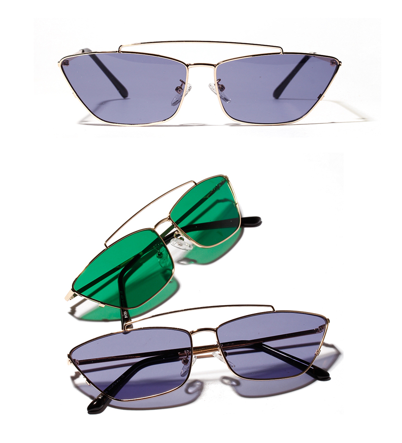 ladies cats eye sunglasses green lens detail (1)