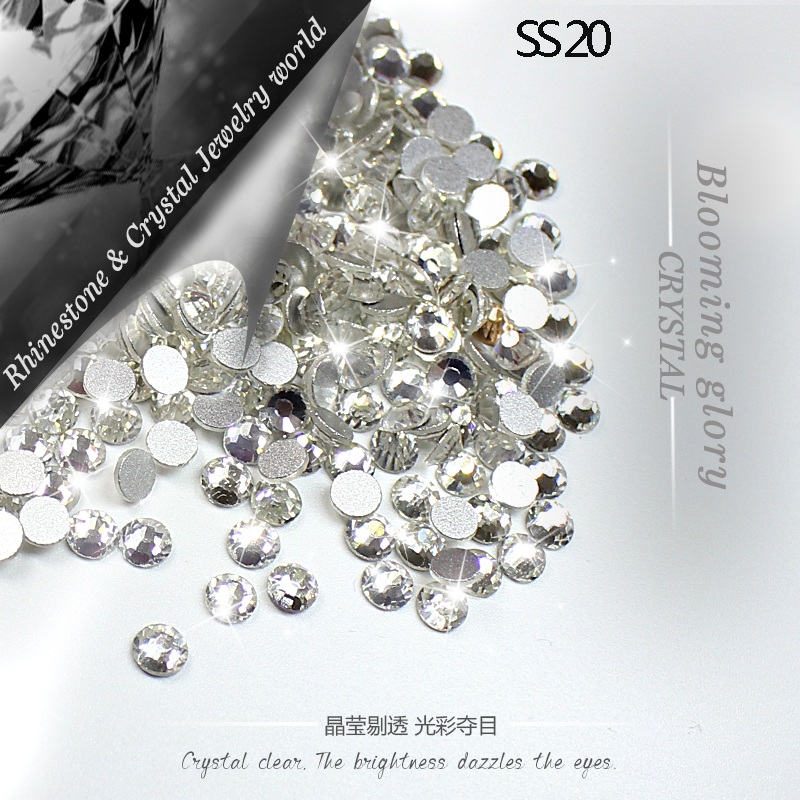 QIAO SS20 (4,8-5,0mm) Crystal Clear 1440st / Pack 3D Non-Hotfix Strass DIY Lim på Flatback Strass för Wedding Decoration