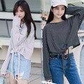 Ulzzang harajuku camisa mulheres 2016 plus size coreano roupas de primavera outono estilo de rock new kawaii strap listrado t-shirt das mulheres topos