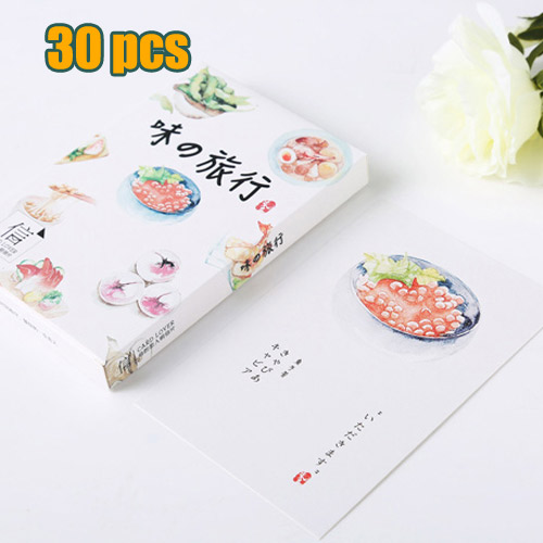 Hand Painted Dishes Cuisine Postcards Cartoon 30 Pcs Christmas Card
