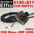 11.11 Продажа 1/3 Sony CCD Effio 4140 + 811 Простой hd чип модуль 2.8 мм 3.0mp объектива большой Широкоугольный экранное меню мини Цвет изображения дома видео