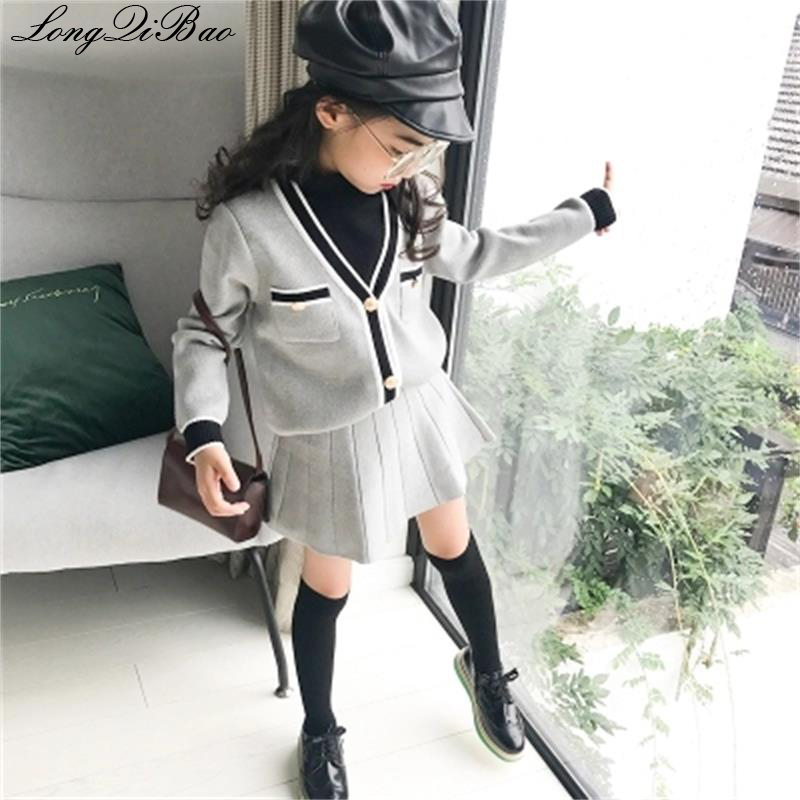 Baby Girl Sweater Set 2018 Autumn New Big Children's Children's Hipster Ocean Tide Two-piece We Take Customers As Our Gods
