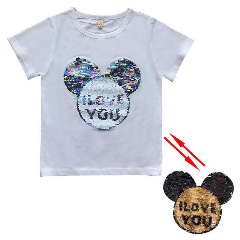 c684f021c0 ... Summer cotton girls t shirt baby tee kids basic Tops Children t shirt  mickey switchable sequin ...
