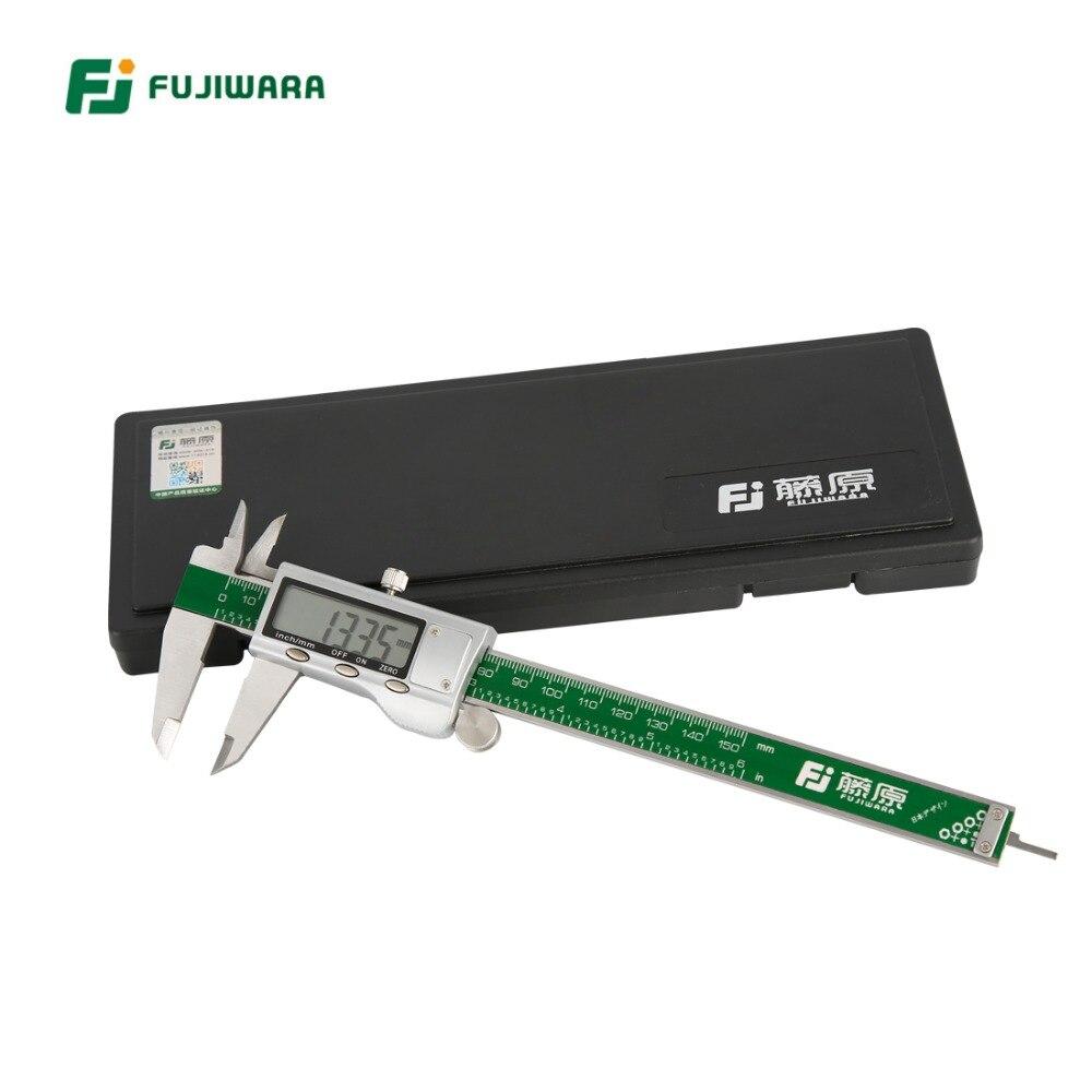 FUJIWARA Edelstahl Digitale LCD Elektronische Messschieber MM/Zoll 0-150MM Genauigkeit 0,01mm Kunststoff Box verpackung