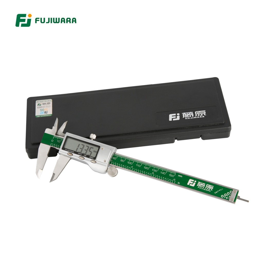 FUJIWARA Stainless Steel Digital LCD Electronic Vernier Caliper MM/Inch 0-150MM Accuracy 0.01mm Plastic Box Packing