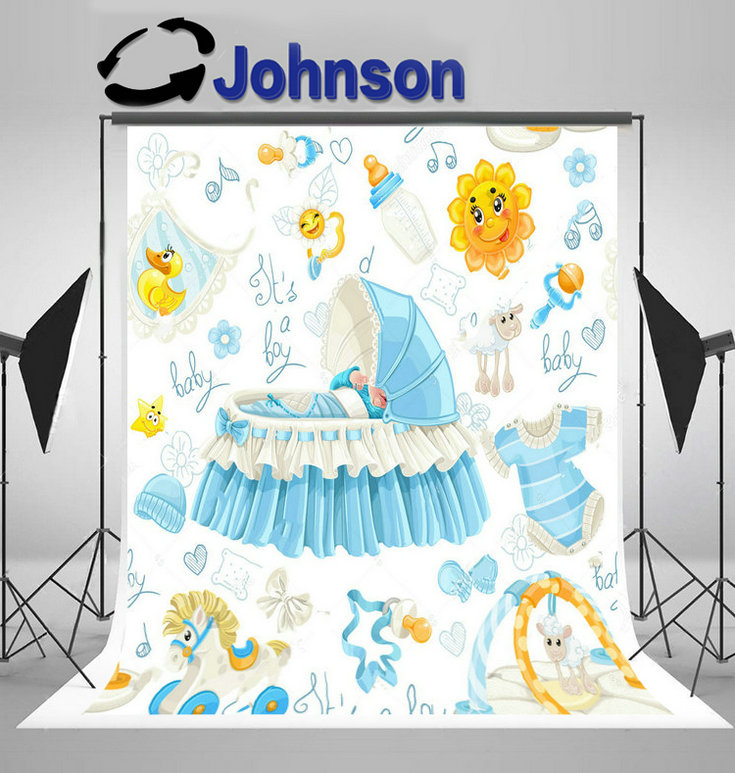 party background Vinyl cloth High quality Computer print Carousel Baby Cribs Stuff Baby Shower backdrop