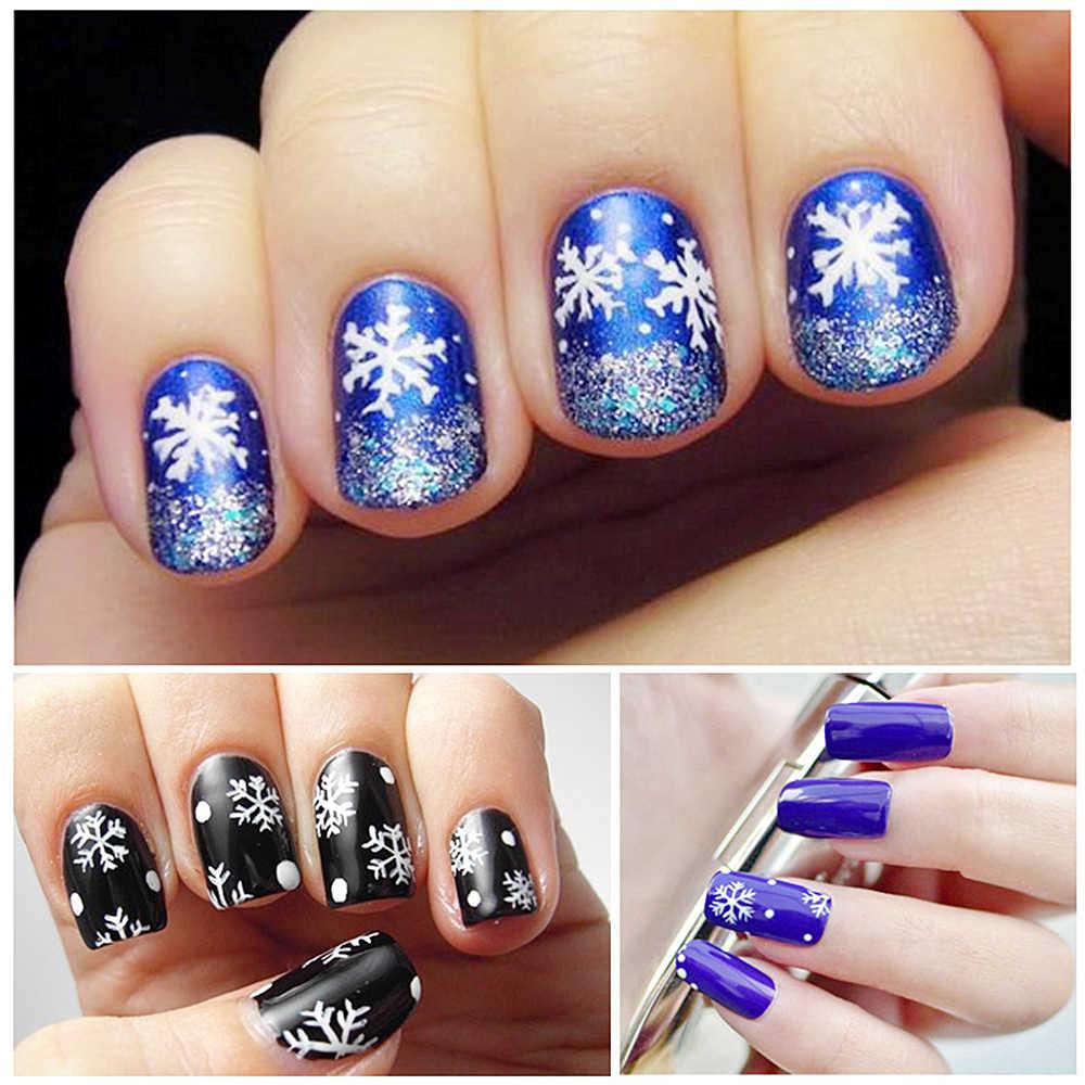 4*120 Pcs Kualitas Tinggi Paku Seni Kepingan Salju Natal Manikur Stiker Kuku DIY Bordiran Perak Kepingan Salju Putih Bintang Berlian Imitasi