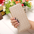 2016 Women Wallet 8 Colors Clutch Fashion PU Leather 2 Fold Weave Female Long Wallet Fresh Coin Purses Lady Card&ID Holders