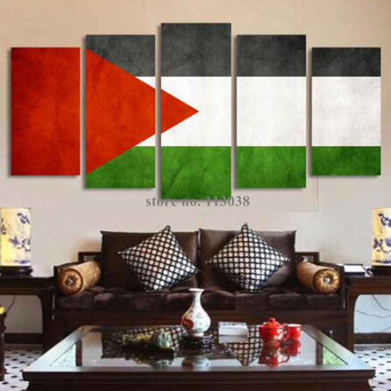 New design fashion 5 panels palestinian flag printed for Quality home decor