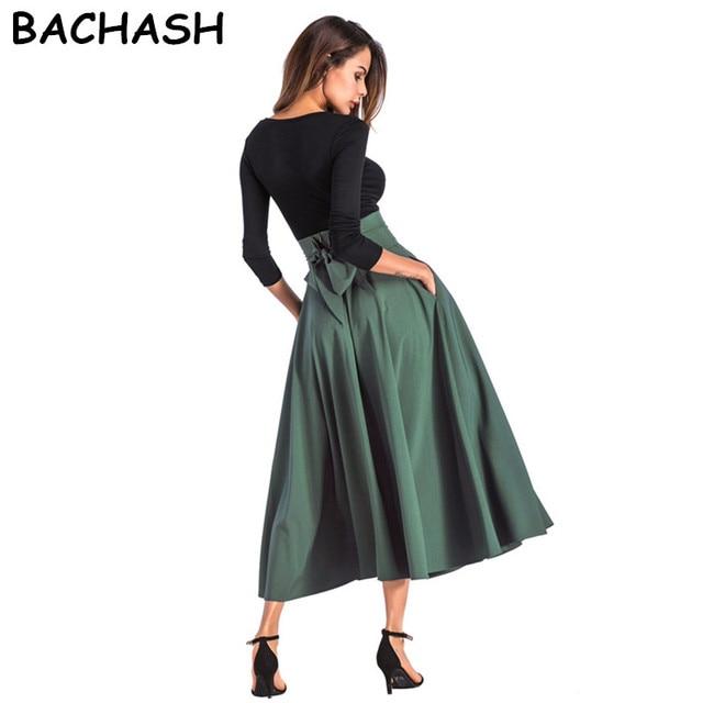 4c8c4f70d Bashash 2018 mujeres Lino algodón faldas largas cintura elástica plisada  Maxi faldas playa Boho Vintage verano faldas talla grande S-4XL