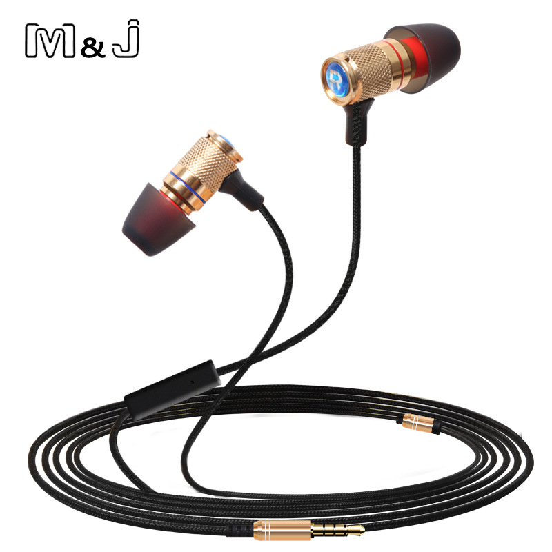 M J Professional Monitor DJ Studio Bass stereo Ear Buds Earphone 3 5mm With MicMobile Phone