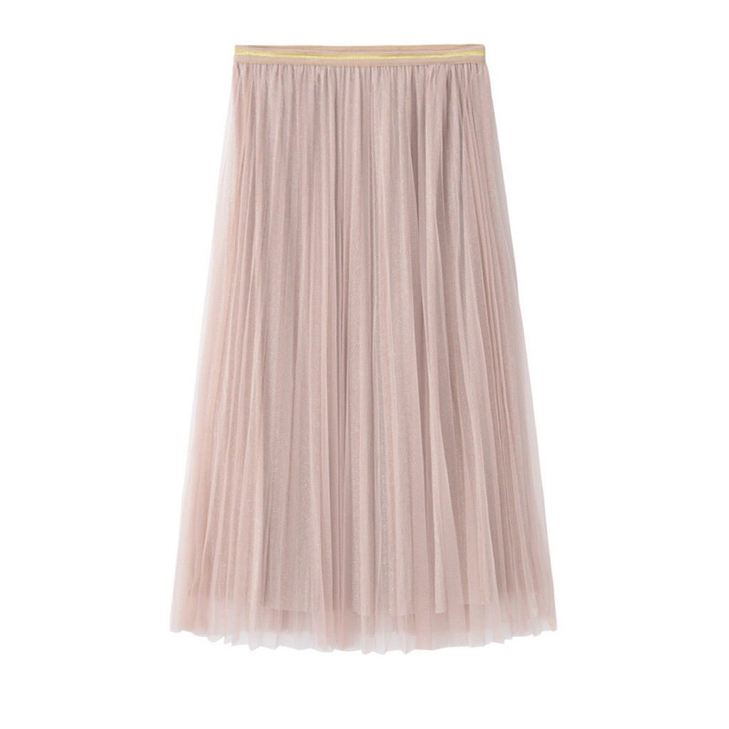 2020 MAXIORILL New Skirt Women Princess Tulle Solid Color Pleated High Waist Long Skirts подол Wholesale T3