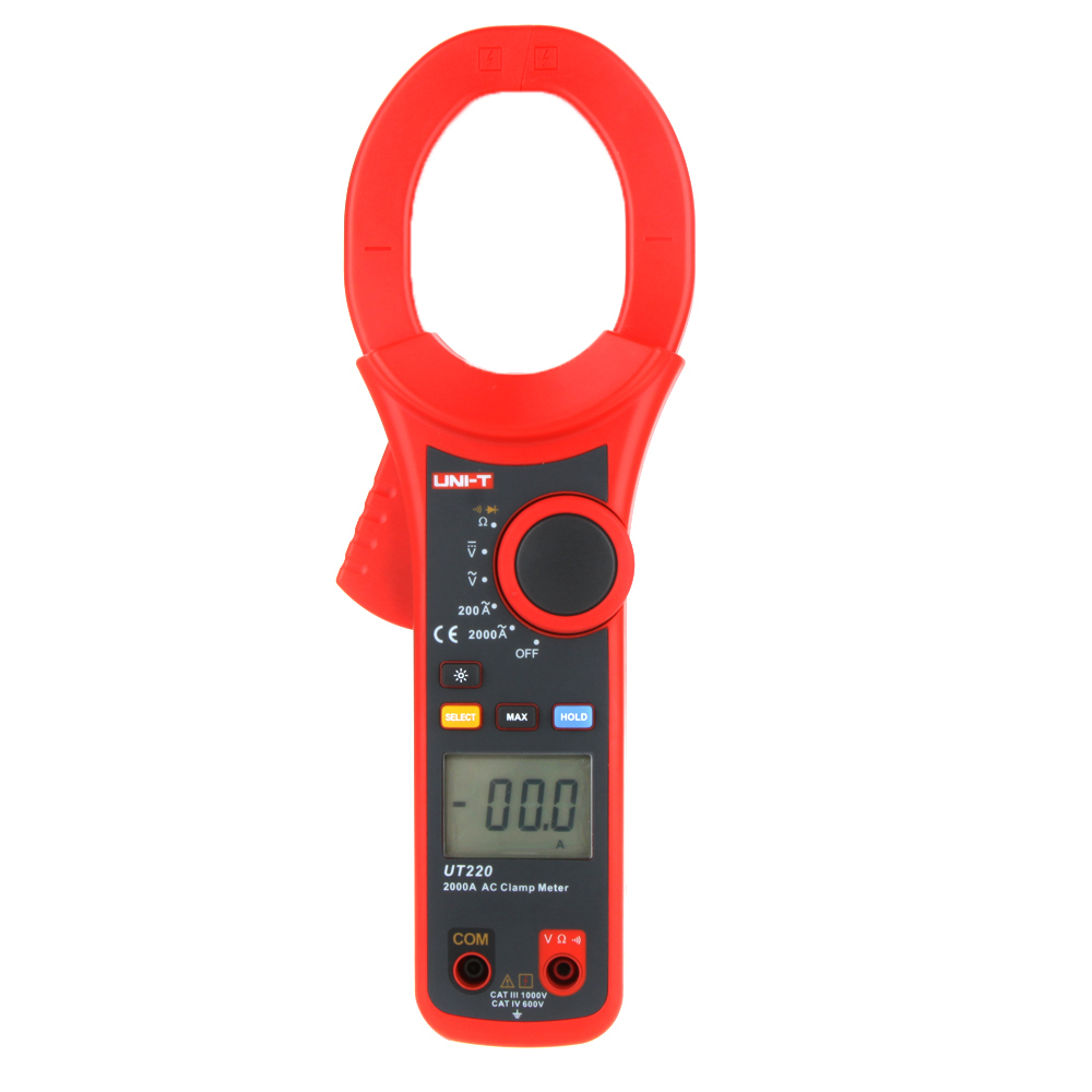 Professional UNI-T UT220 2000A Auto Range Data Hold LCD Backlight Digital Clamp Meters Multitester professional uni t 2000a auto range data hold lcd backlight digital clamp meters multitester ut220 megohmmeter