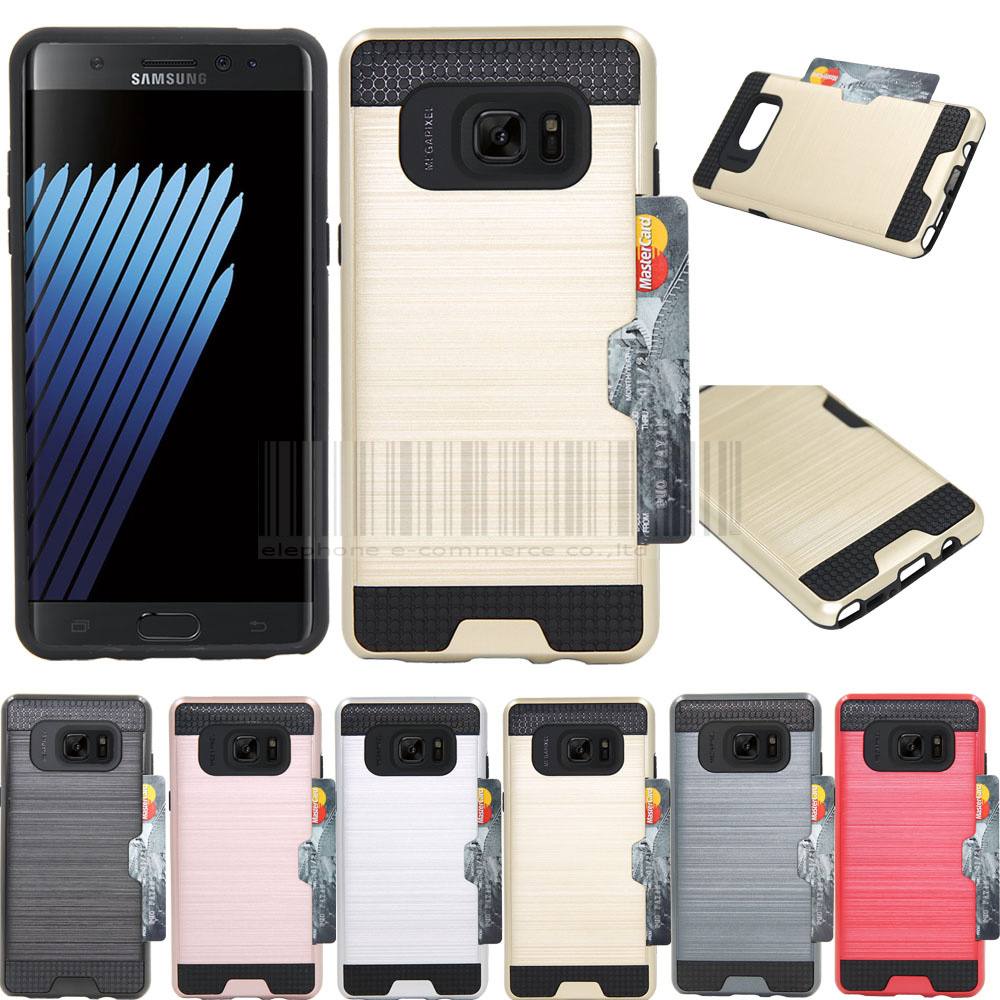 For Samsung Galaxy Note 7 Anti-shock Protective Hybrid Card Holder Pocket Case Cover For Samsung Galaxy Note FE 2017 (SM-N935)
