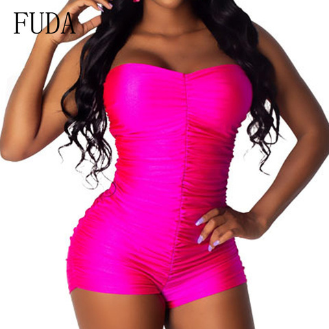 FUDA Rompers Womens Sexy Sleeveless Off Shoulder Playsuits Elegant Hollow Out Bodycon Bandage Jumpsuits Summer Skinny Bodysuits Lahore