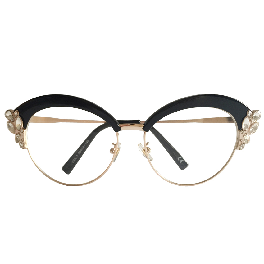 peekaboo with box crystal rhinestone eye glasses frames for women cat eye luxury eyewear frames women female black gold