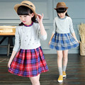 Cute Baby Girls Dress Plaid Baby Girls Dress Designs 2016 New Arrival Fashion Cotton Girls Dress Long Sleeve Kids Clothing