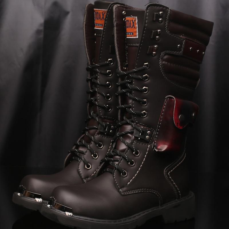 Punk Chaussures Rock Deprtivas Black Militaire Mâle Armée Zapatillas Bottes Chaude Métal En Hombre Combat Boucle Hommes Cuir Moto De dBhsrxQtC