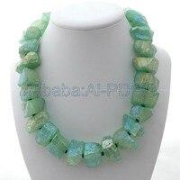 18 Green Titanium Crystal Quartz Rough Nugget Necklace