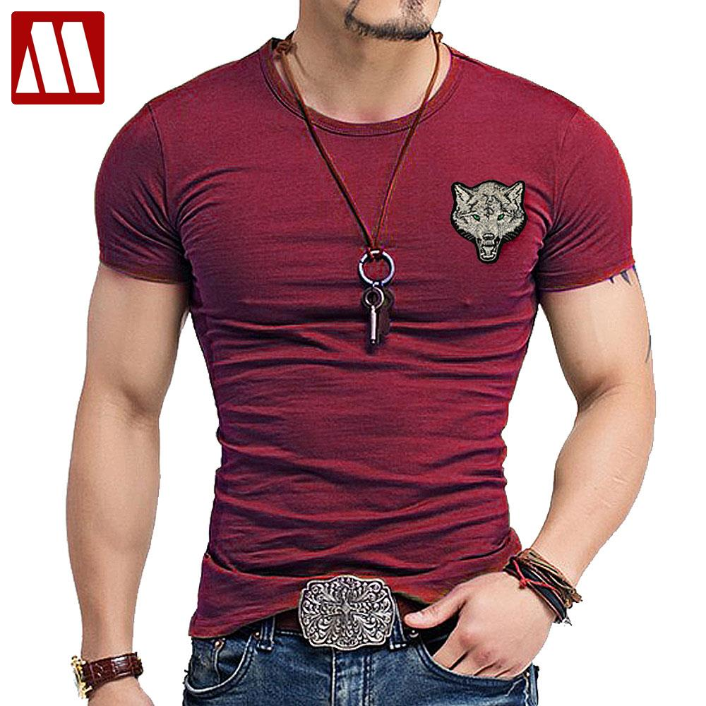2019 Brand Men's Wolf Embroidery Tshirt Cotton Short Sleeve T Shirt Spring Summer Casual Men's O Neck Slim T-Shirts Size S-5XL