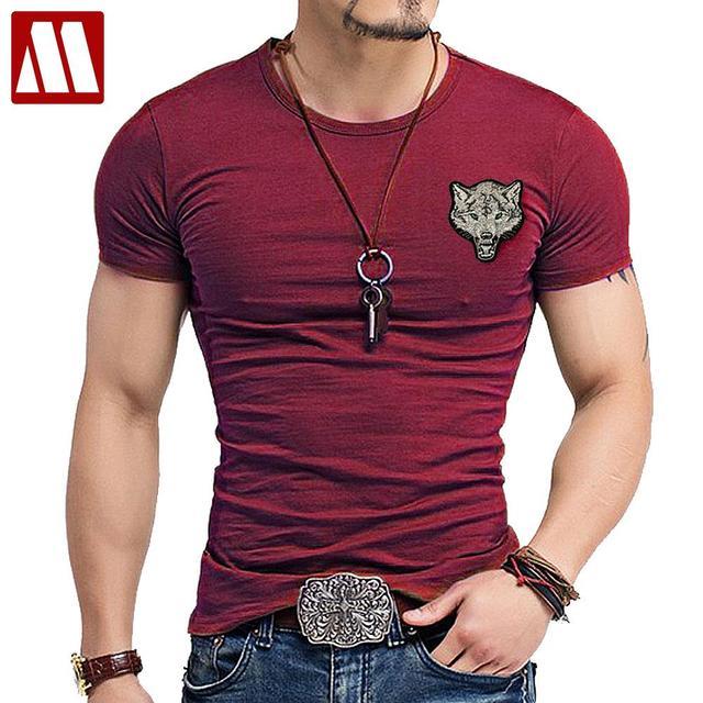 2018 Marque Hommes de Loup broderie T-shirt Coton À Manches Courtes T  chemise de c53340ae8c24