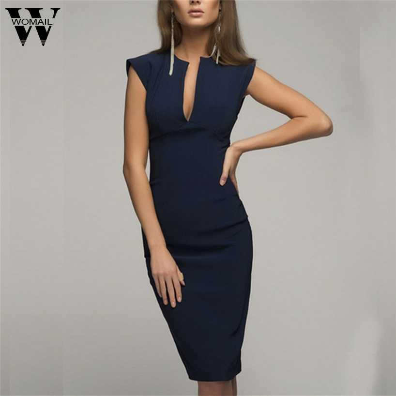 Womail Women Sexy Dress  New Summer V-Neck Sleeveless Black Dresses Split Office Work Wearing Sheath Casual Pencil Vestido oct30