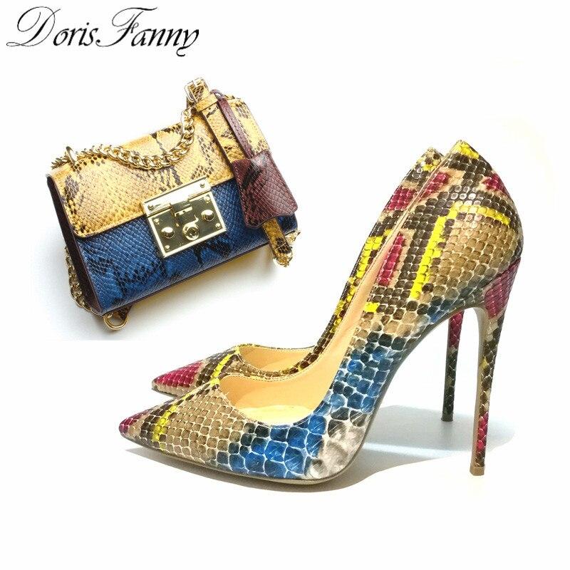 DorisFanny/змеиный принт африканские женские туфли и сумки в комплекте туфли лодочки на высоком каблуке 12 см