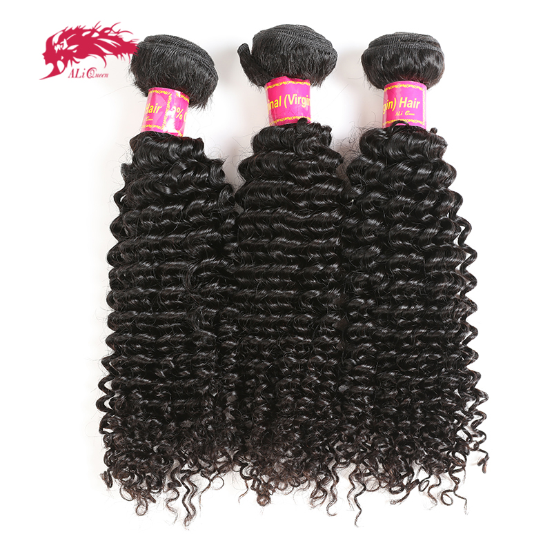 Ali Queen Hair 10A Kinky Curly Brazilian Virgin Hair Weft 3 Bundle Deal Natural Color 100