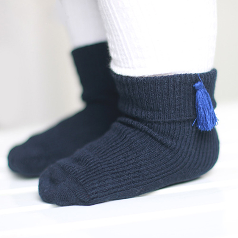 4 Pairs/lot Comfortable Pure Cotton Newborn Baby Socks Tassel Kids Girls Socks Ankle Sox Red, Gray, Yellow, Navy
