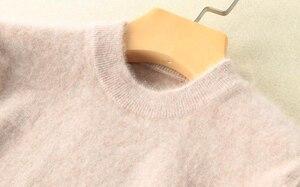 Image 4 - Pull à manches longues pour femmes, 100% vison, col roulé tricoté, ample, doux et chaud, couleur unie, hiver S XXL