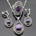 Huge Silver Color  Jewelry Sets Ametryst Created Crystal Earrings/Pendant/Necklace/Rings For Women Christmas Gift Free Box