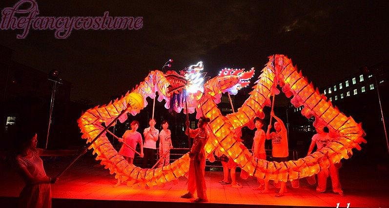 18m Length Size 4 red-gold parade illuminant LED light Costume DRAGON - Costumi di carnevale
