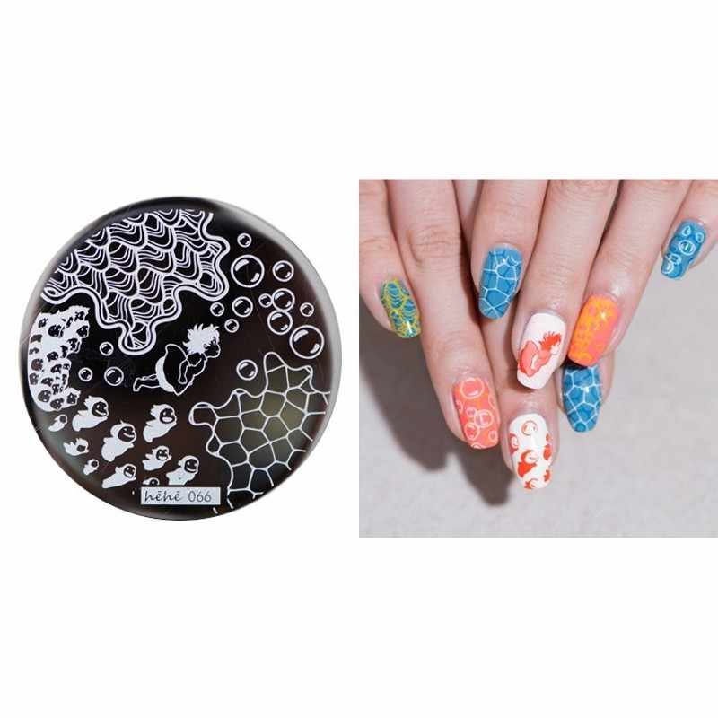 HEHE! 1Pcsยอดนิยมแผ่นOcean Wave Bubbles Nail Art Stamp Template Image Transferแสตมป์Hehe 066