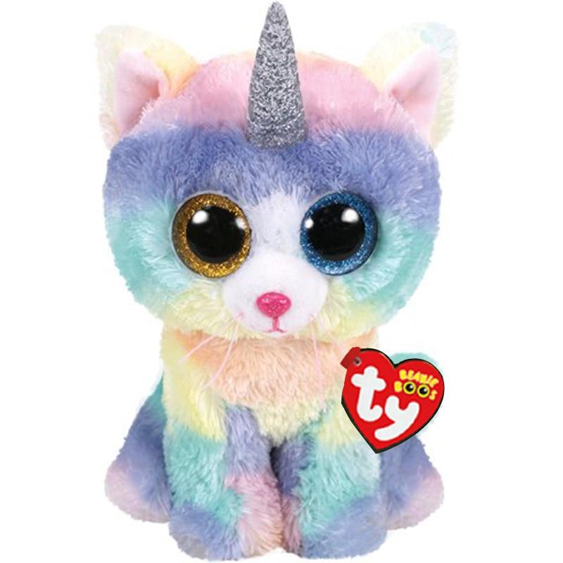 Ty Heather the Cat Unicorn Plush Regular Soft Big-eyed Stuffed Animal Collection Doll Toy 15cm(China)