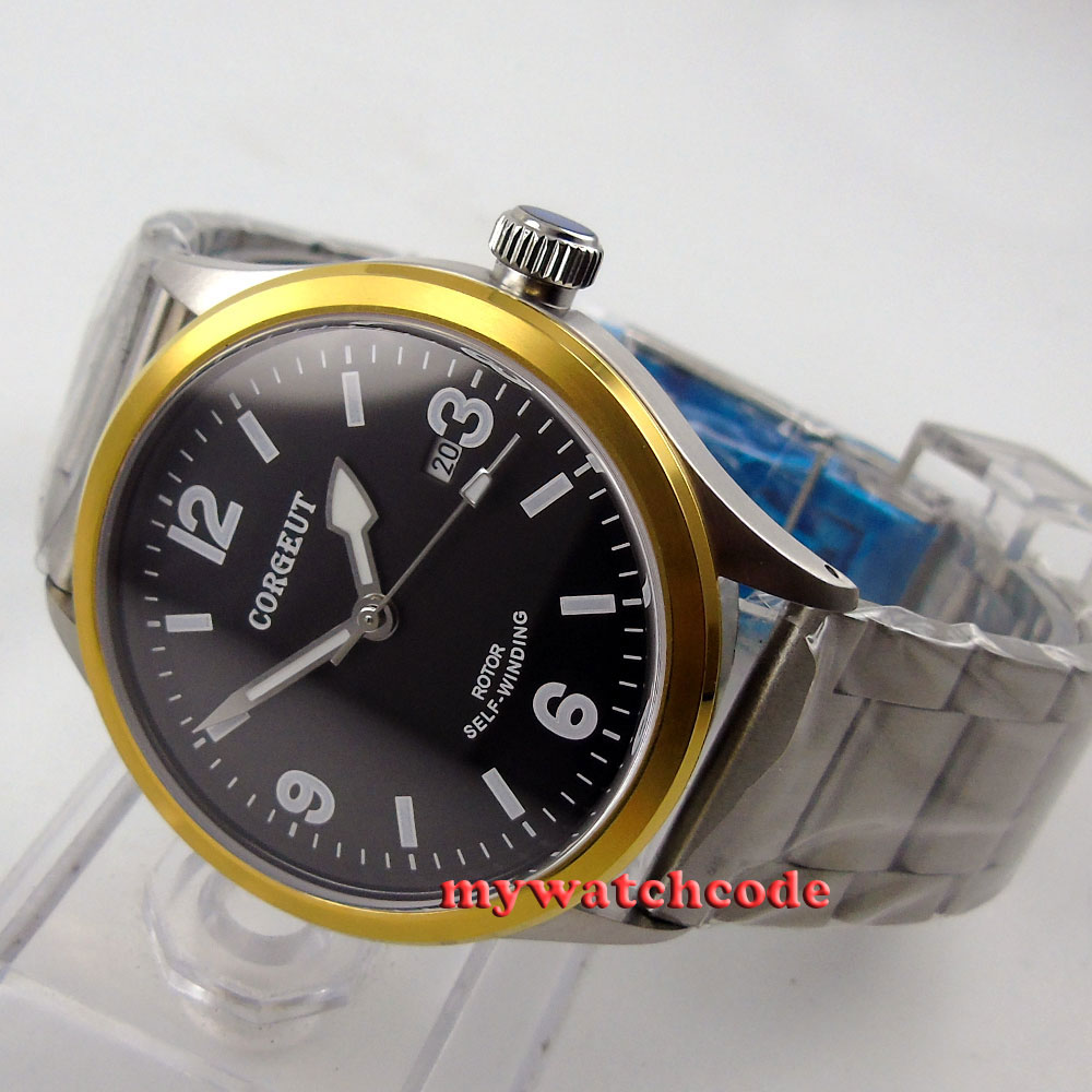 41mm corgeut black dial gold bezel miyota Automatic movement mens wrist watch 63 41mm corgeut black dial sapphire glass miyota automatic movement mens watch c04