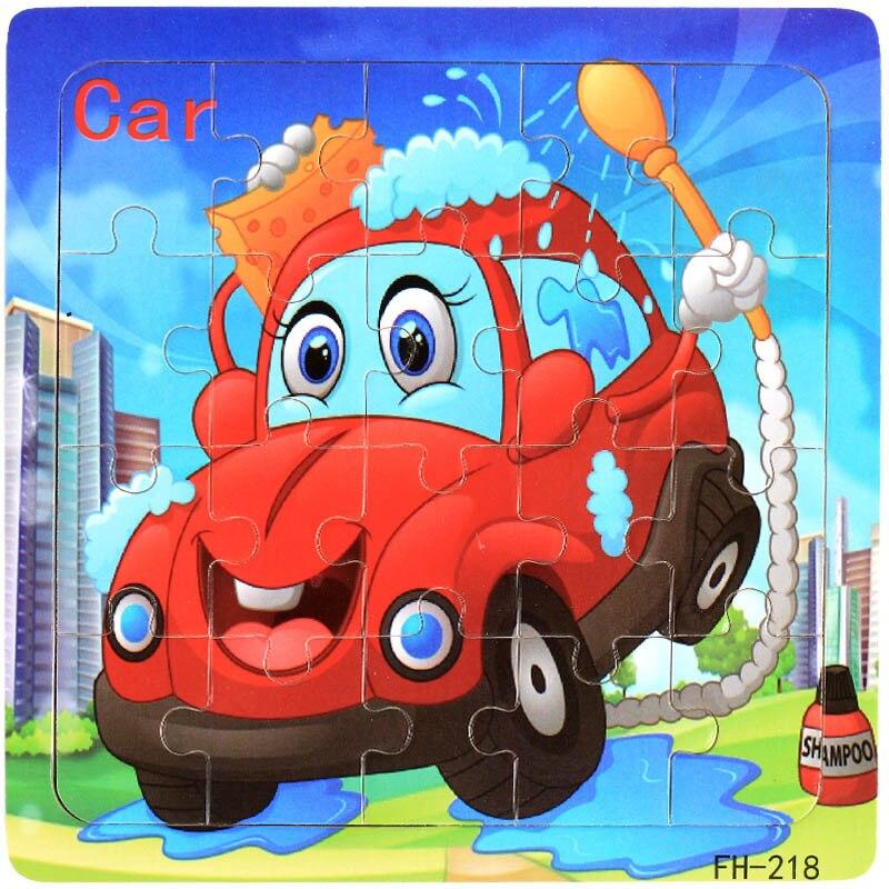 Деревянные пазлы игрушки 20 шт. дети радость Превосходное качество головоломки деревянные Мультяшные животные Развивающие головоломки игрушки для детей - Цвет: 19