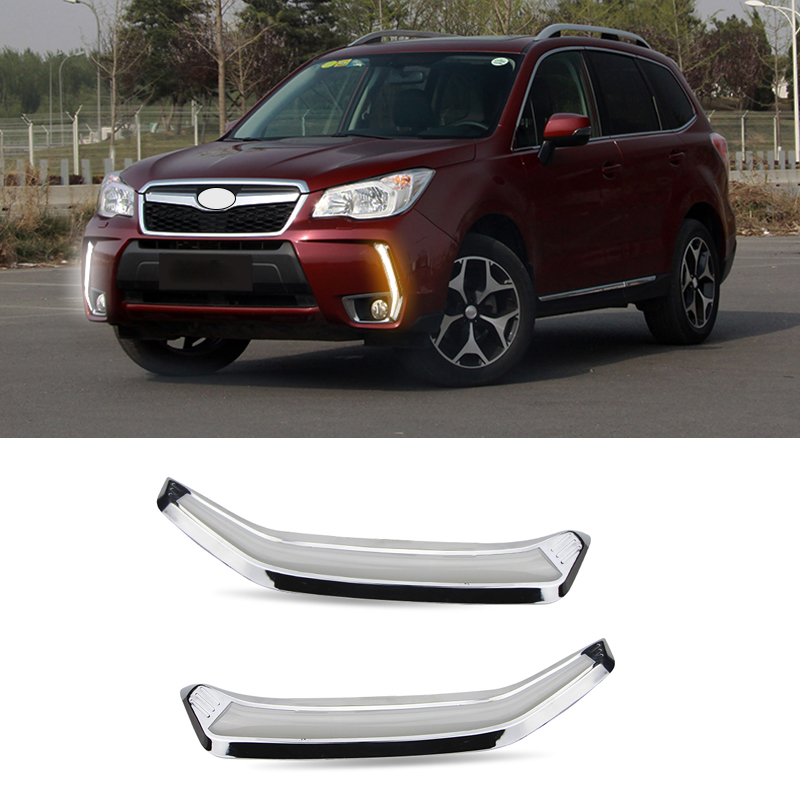 LED DRL Daytime Running Light For Subaru Forester 2013 2014 2015 2016 with Turning Signal Light & Dimmer Function Fog Lamp forester daytime light 2013 2016 free