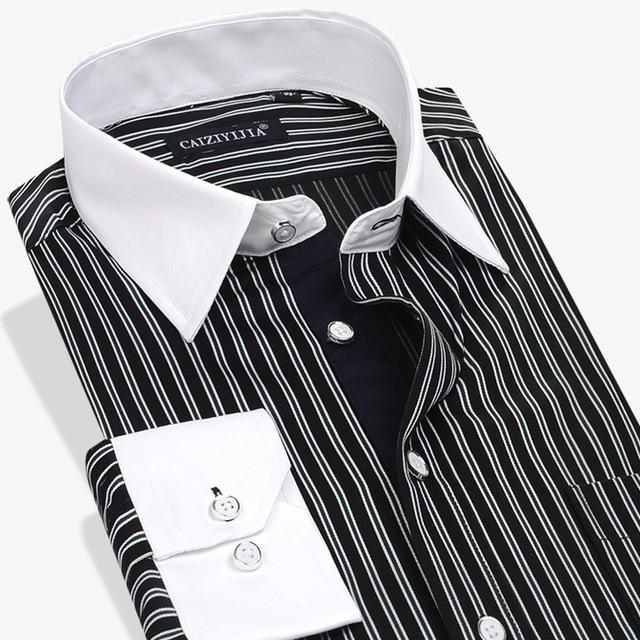 Mens white dress shirt with black stripes