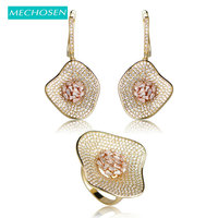 MECHOSEN Delicate Luxury Gemoetric Cubic Zirconia Earrings Ring Set Women Bridal Wedding Jewelry Sets Gold Color Brinco Anel