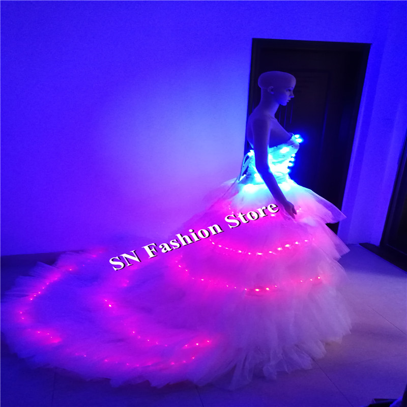 SS7 LED luminoso vestido de novia mujeres Catwalk stage show RGB ...