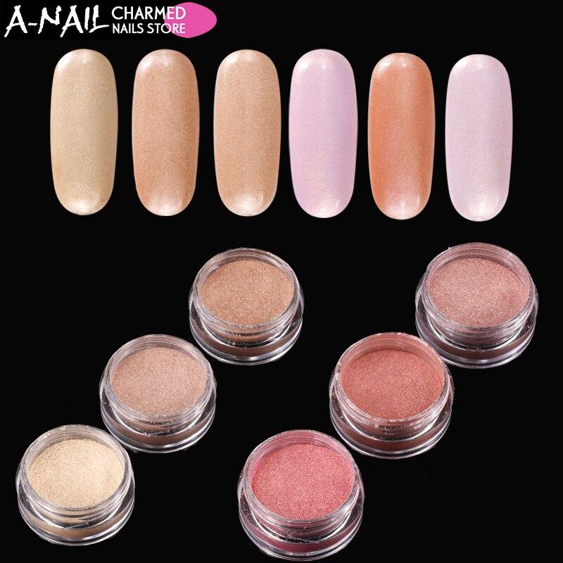 6 kleuren / set Gradiënt huidskleur effect Nail Glitter Pigment - Nagel kunst