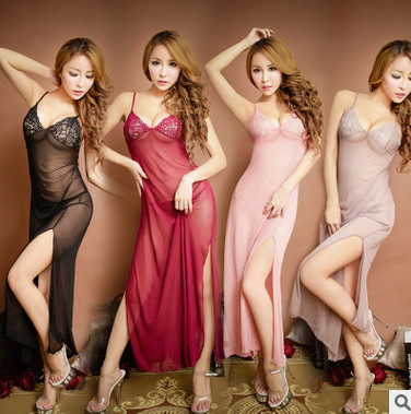 Tul de encaje sexy camisón de la correa de espagueti de la ropa interior Larga de Las Mujeres camisa de dormir atractiva de las mujeres tentación femenina camisón AW7652