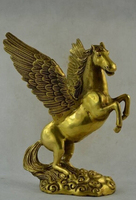 Copper Brass CHINESE crafts Asian Wonderful Collectibles Old Decorated Handwork Pegasus Statue sculpture