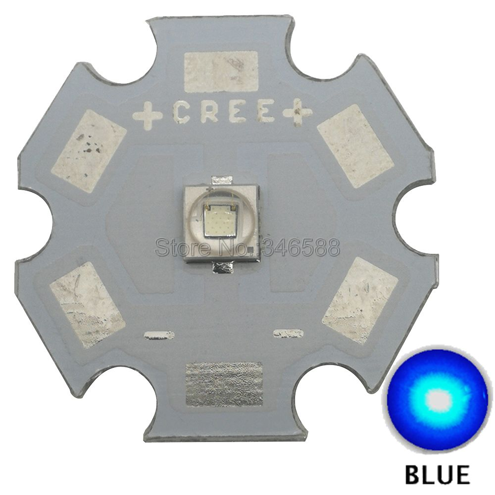 5x Cree 3W XPE2 XP-E2 Blue Color <font><b>470nm</b></font> - 475nm High Power LED Emitter Diode on 8mm/ 10mm/ 12mm/ 14mm/ 16mm/ 20mm PCB image