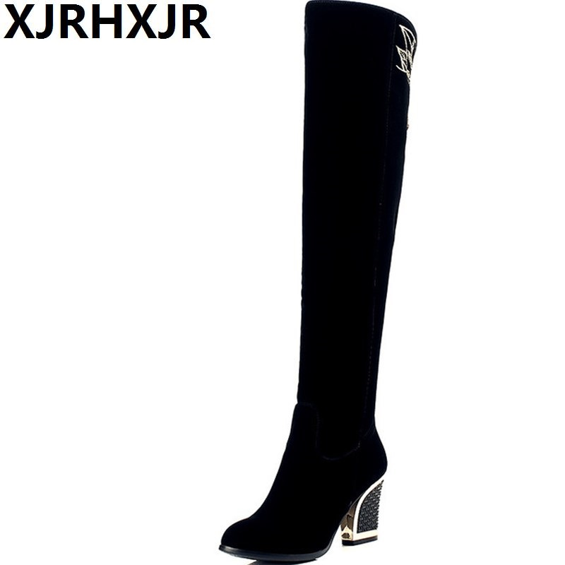 Embroidery Boots Autumn Winter Boots Fashion Lady High Heel Long Boots Embroidered Women Over The Knee High Long Snow Boots