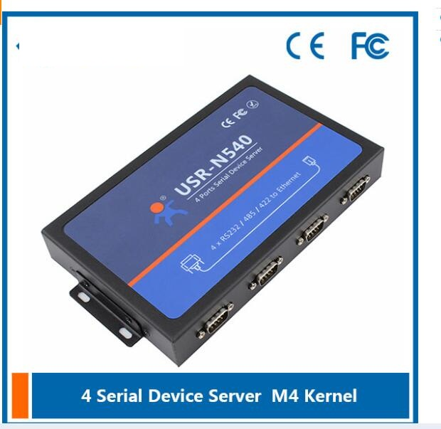 USR-N540 4 ports Serial Device Servers, Serial RS232 485 422 to Ethernet Converter hightek hk 8116b industrial 16 ports rs485 422 to ethernet converter ethernet to serial device server