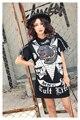 Melinda Estilo 2017 de las nuevas mujeres del verano camiseta de manga corta con lentejuelas patrón de cartón impresión de la letra envío libre superior